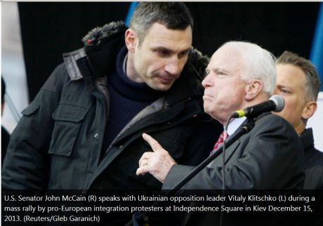 Former US presidental candidate John McCain in Kiev with US and EU backed opposition in Dec 2013.