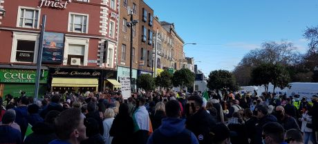 Top of Grafton Street one hour after the non-riot. RTE news claimed protest was broken up. They were left there because the work of the provocateurs was done