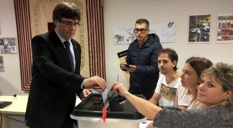 The president of Catalonia, Carles Puigdemont casts his vote - turn out is exceptionally high despite Spanish state violence.